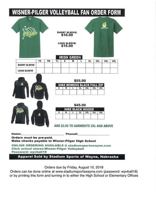 Volleyball Gear Fan Order Form