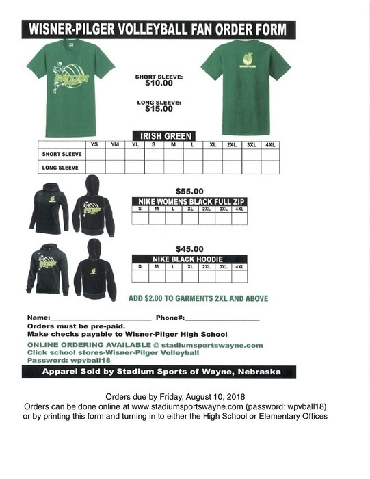 Volleyball Fan Gear Order Form