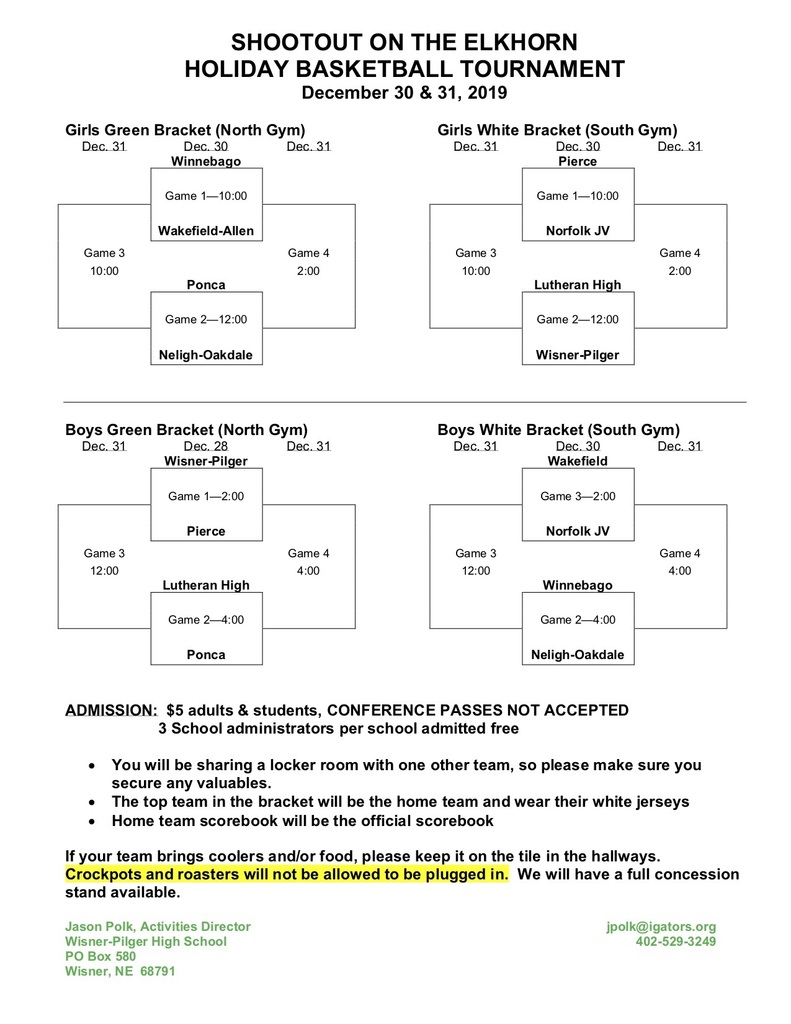 Holiday Tournament Info