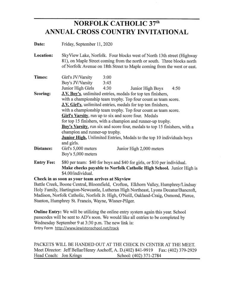 Norfolk Catholic Cross Country Invitational Friday, September 11th