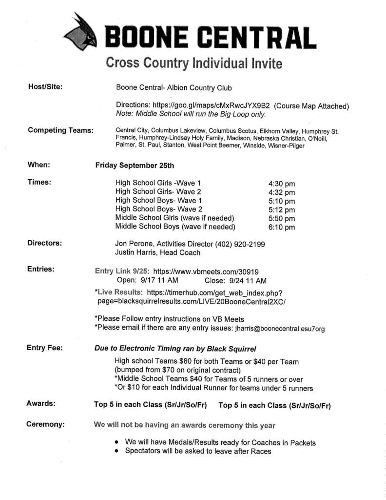 Boone Central Cross Country Invite
